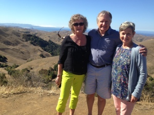 Sue, David, and Lura on the way to Paso Robles, overlooking Morro Bay